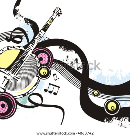 Music instrument background series, vector illustration of a banjo with grunge details. - stock vector