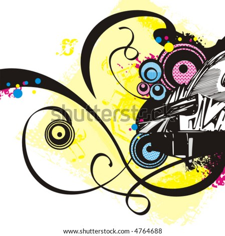 Music instrument background series, vector illustration of a piano with grunge details. - stock vector