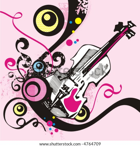 Music instrument background series, vector illustration of a violin with grunge details. - stock vector