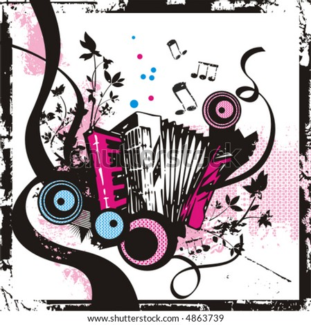 Music instrument background series, vector illustration of an accordion with grunge details. - stock vector