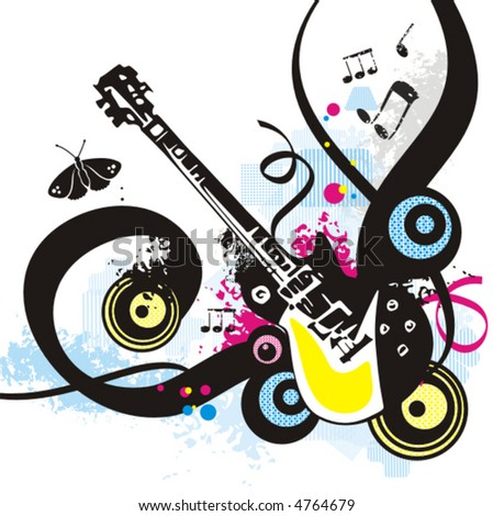Music instrument background series, vector illustration of an electric guitar with grunge details. - stock vector