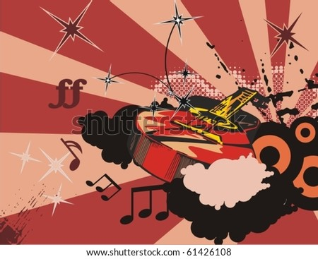 Music instrument background with a classic guitar. - stock vector