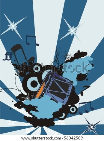 Music instrument background with a drum. - stock vector