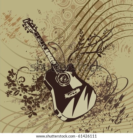 Music instrument background with a guitar. - stock vector