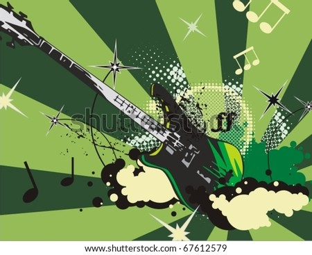 Music instrument background with an electric guitar. - stock vector