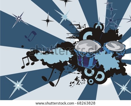 Music instrument background with drums. - stock vector
