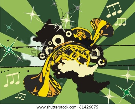 Music instrument background with horns. - stock vector