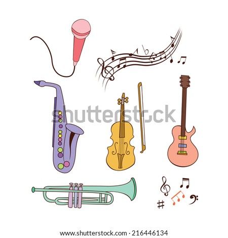 Music Instrument Doodle set  - stock vector