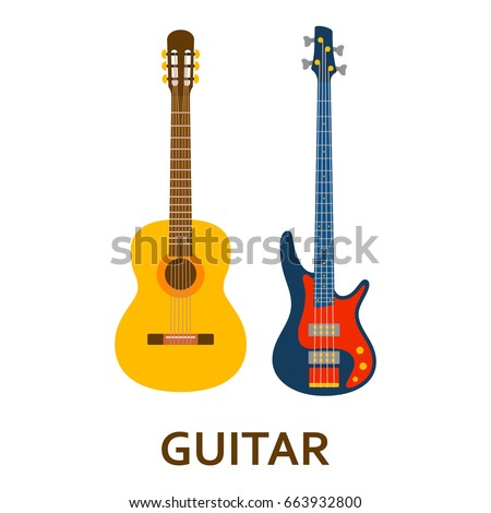 Music instrument icon. Guitar. Vector flat illustration