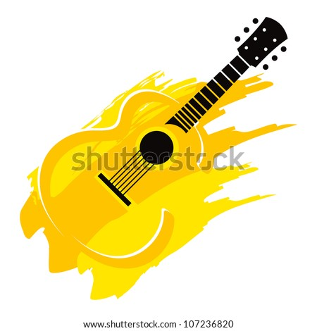 Music instrument wooden acoustic Guitar with strings - stock vector