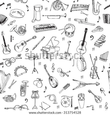 Music Instruments Background - Seamless Pattern - vector - stock vector