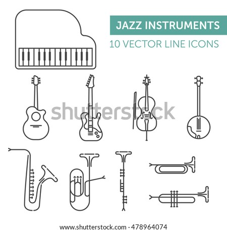 Music instruments. Black line vector icons set on white background.