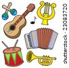 Music instruments collection 1 - vector illustration. - stock vector