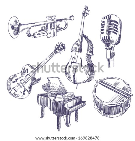 Music instruments drawings set - stock vector