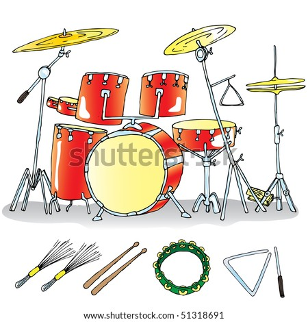 music instruments-drums - stock vector