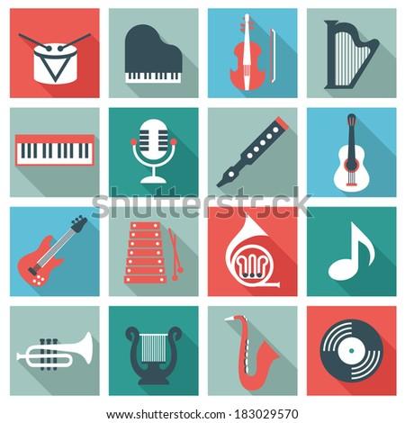 Music instruments - flat design - stock vector