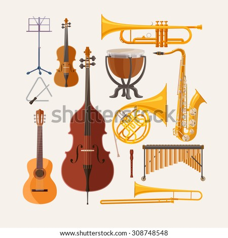 Music instruments. Flat design. - stock vector