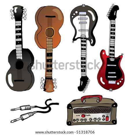 music instruments-guitars - stock vector