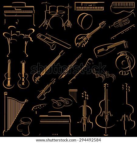 Music instruments icon set - stock vector