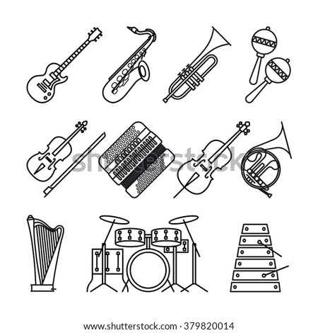 Music instruments or musical instruments thin black line icons on white background. Guitar, accordion, violin and percussion and harp vector icons. - stock vector