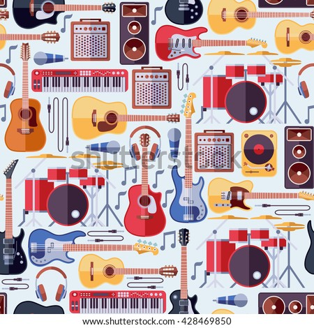 Music instruments seamless background, pattern with guitar. Vector illustration - stock vector