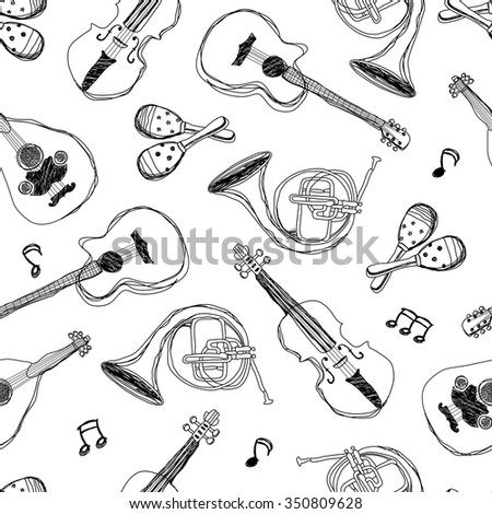 music instruments, Seamless Pattern