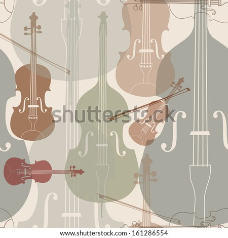 Music instruments seamless pattern. Stringed musical instrument silhouette seamless background. - stock vector