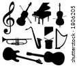 Music instruments - silhouette. VECTOR! (Check out my portfolio for other silhouettes). Enjoy - stock vector