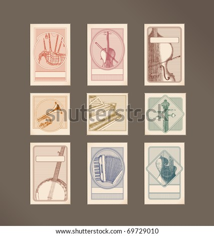 Music instruments stamps - stock vector