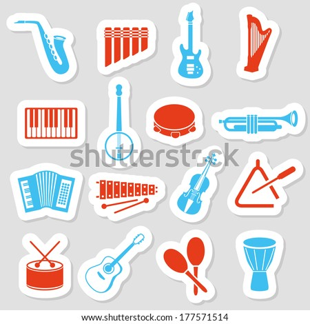 music instruments stickers - stock vector