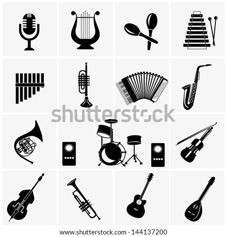 Music instruments . vector black music icons set on gray - stock vector