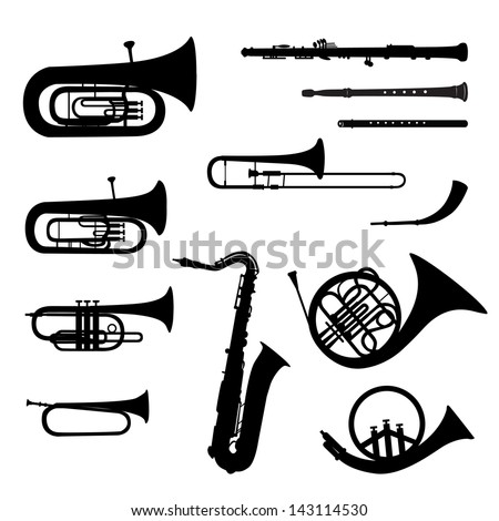Music instruments vector set. Musical instrument silhouette on white background. - stock vector