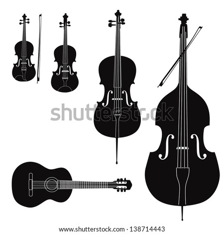 Music instruments vector set. Stringed musical instrument silhouette on white background.