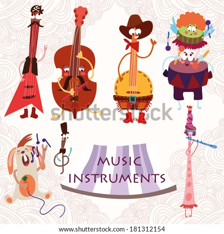 Music Instruments with rabbit: Guitar, contrabass, drums, flute, and banjo. Cute vector set for party.(All objects are isolated groups so you can move and separate them) - stock vector