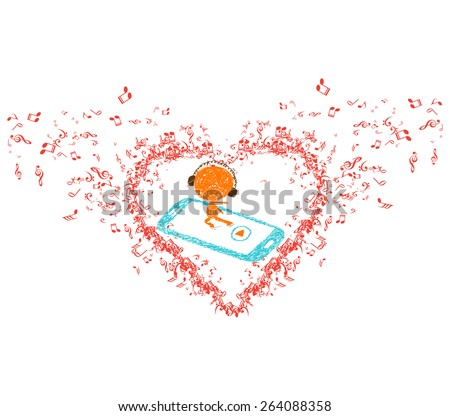 music is my soul in heart background - stock vector