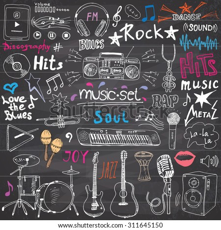 Music items doodle icons set. Hand drawn sketch with notes, instruments, microphone, guitar, headphone, drums, music player and music styles lettering signs, vector illustration, chalkboard background - stock vector
