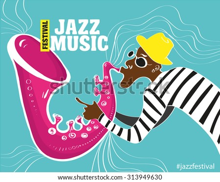 music jazz poster. Vector illustration of a Jazz poster with saxophonist - stock vector