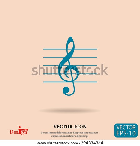 music key vector icon - stock vector