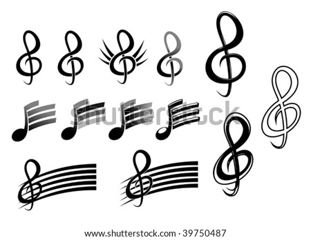 Music keys and notes - abstract emblem or logo template. Jpeg version also available - stock vector
