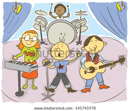 Music kids.Child's hand drawing vector illustration on happy child playing music - stock vector