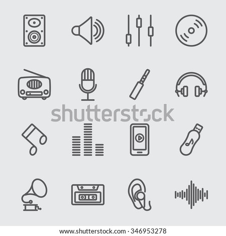 Music line icon - stock vector