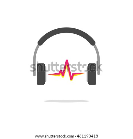 Music logo vector concept isolated on white background, flat headphones with red sound wave beat, broadcasting creative modern logotype