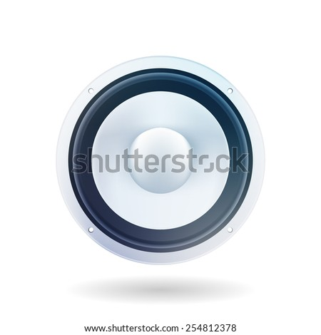 Music loud speaker on a white background. Light gray loud speaker on a white background