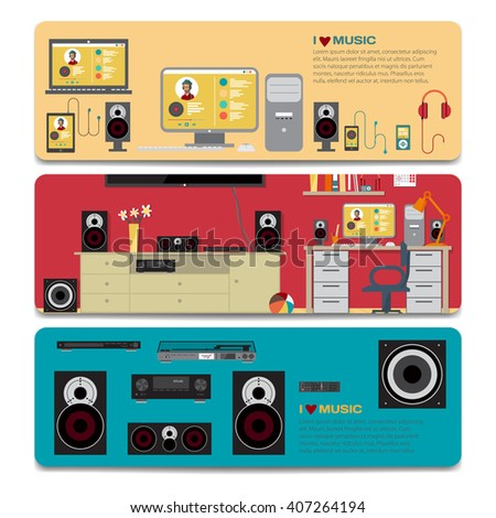 Music lover sale discount gift card. Branding design for music shop. Listening to music on outdoor theme for gift card design. Home cinema system in interior room and a separate music equipment - stock vector