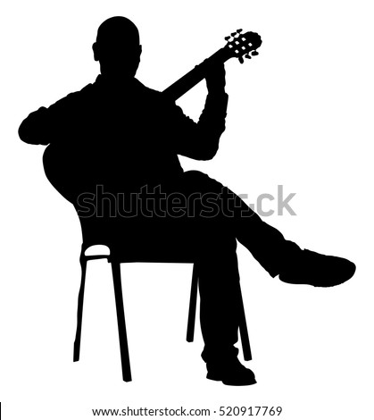 Music Man Sitting On Chair Guitar Stock Vector 520917769 ...