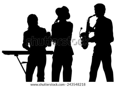 Music man whit brass band on white background - stock vector