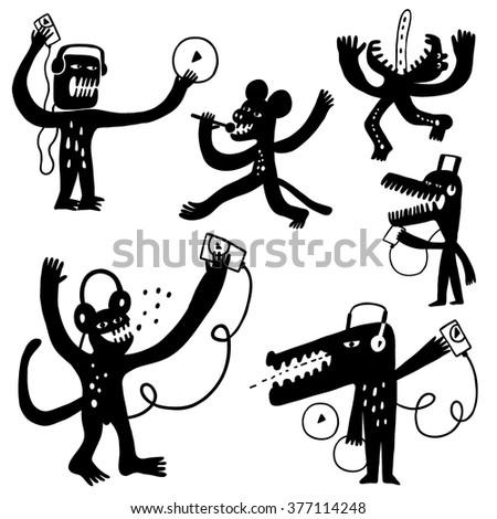 music monsters doodles - stock vector