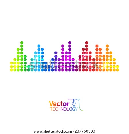 Music multicolored equalizer - stock vector
