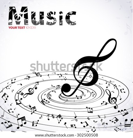 Music. Music background with notes and treble clef.