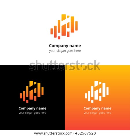 Music note and equalizer beat background flat logo icon vector template. Abstract symbol and button with yellow-orange gradient for music service or company. - stock vector